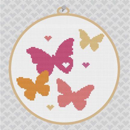Free Butterfly Cross Stitch Patterns | Butterflies Silhouette Cross Stitch PDF Pattern II
