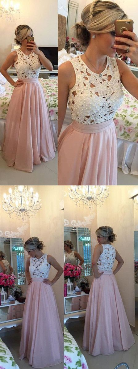 Simple Prom Dresses,Pink Prom Gowns,Lace Prom Dresses, White Lace Prom Dresses, Cheap Prom Dresses,Beaded Prom Dresses,Sleeveless Prom Dresses,A-Line Prom Dress,Long Prom Dress,Floor Length Prom Dress