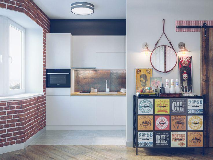 белая кухня в квартире-студии в стиле лофт