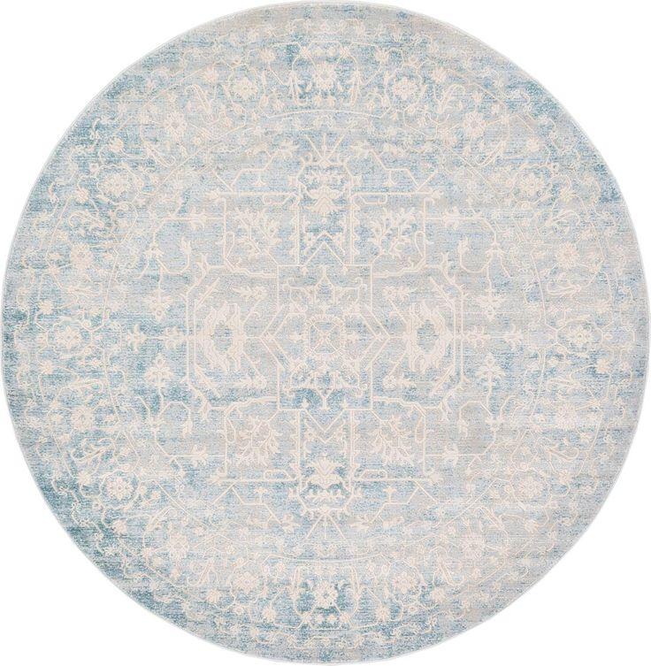 Light Blue 6' x 6' New Vintage Round Rug | Area Rugs | eSaleRugs