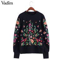 Женщины винтаж цветочная вышивка свитера с длинным фонарь рукав о шеи черный пуловеры зима осень ретро свободные топы SW1202