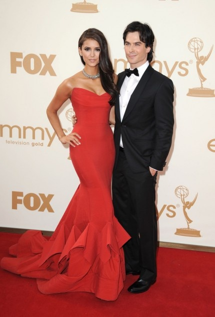 Nina Dobrev and Iam Somerhalder; amazing dress!!