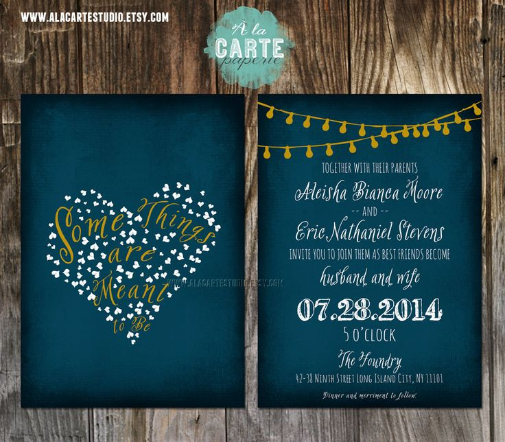 items similar to string light navy blue chalkboard wedding invitation card design fee on etsy - Lantern Wedding Invitations