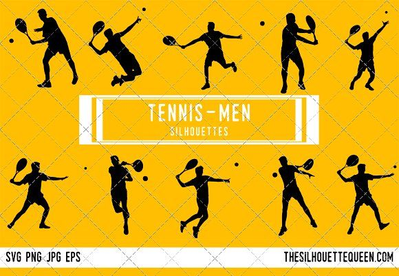 Male Tennis Player Silhouette Silhouette Silhouette Vector Volleyball Silhouette