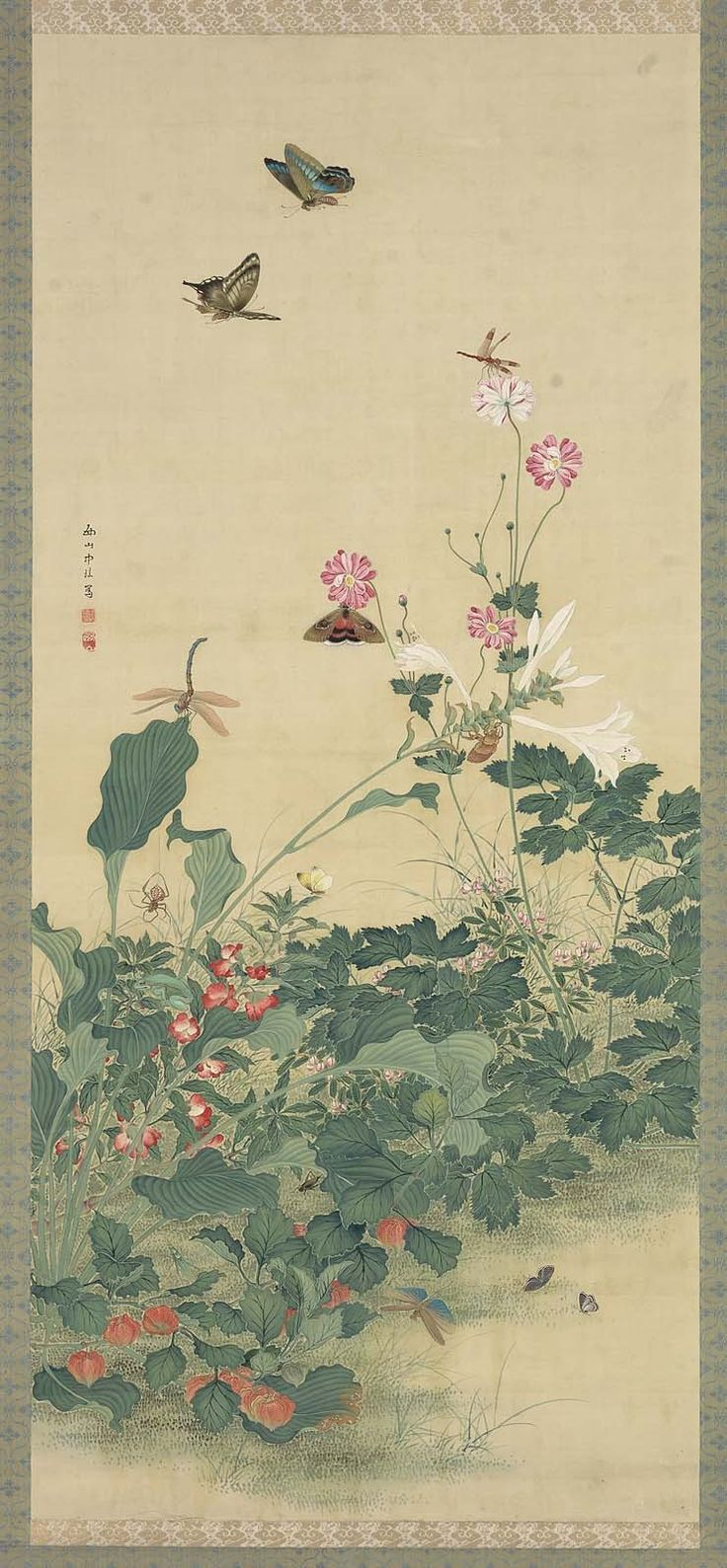 'Flowers, Butterflies and Other Insects.' Ink, colour and gold on silk by Nishiyama Chukei Image and text courtesy MFA Boston.