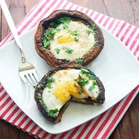 Eggs baked in portobello mushrooms.