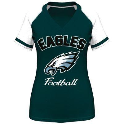 Majestic Philadelphia Eagles Women's Green Go For Two IV V-Neck T-Shirt