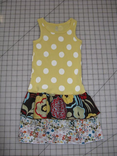 Easy dress to make with tank and two strips of fabric...could be a craft night...I justneed a friend who knows how to sew...Bernadette???
