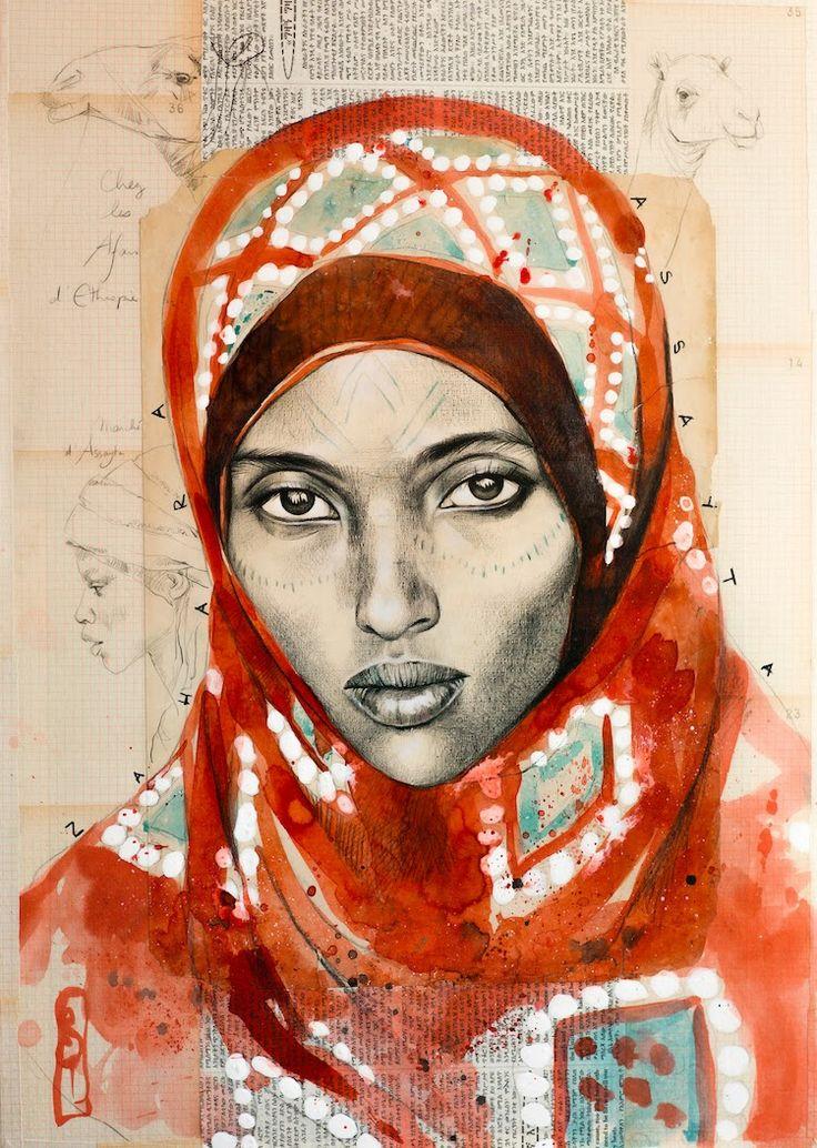 """Stéphanie Ledoux - Carnets de voyage - """"Zahra d'Assayta""""   Femme Afar (Ethiopie)"""