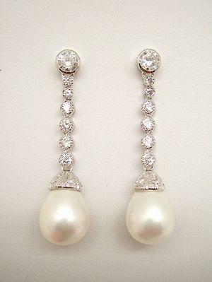 Pendientes de Novia Plata perla pera con circonitas