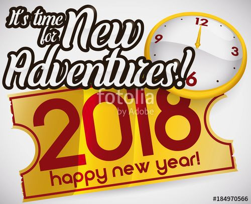 Golden Ticket and Clock for New Adventures in 2018