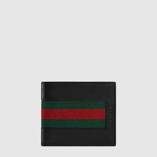 Portefeuille ruban Web en cuir - Gucci Billeteras Homme 408827CVL1N1060