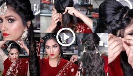 Schöne Frisuren für Hochzeit / Party / Nikah    Simple & Easy Weniger heizen Frisuren #Haar #Hochzeit   Haar Hochzeit Video Stile Schritt für Schritt #promh ...