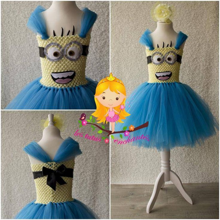 d guisement robe minion 4 5 ans v tements enfants les tutus enchant fait maison. Black Bedroom Furniture Sets. Home Design Ideas