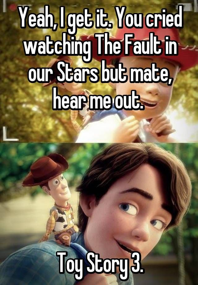 Yeah, I get it. You cried watching The Fault in our Stars but mate, hear me out. Toy Story 3.