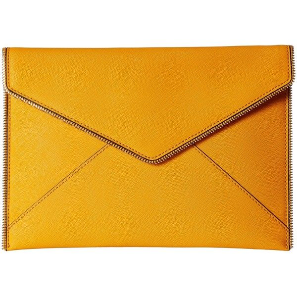 Rebecca Minkoff Leo Clutch (Saffron) Clutch Handbags ($66) ❤ liked on Polyvore featuring bags, handbags, clutches, orange, rebecca minkoff, orange handbags, yellow handbags, rebecca minkoff clutches and rebecca minkoff purse