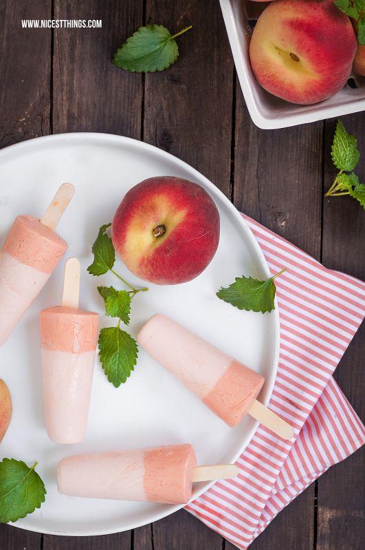 Rezept für Pfirsich Eis am Stiel / Peach Popsicles