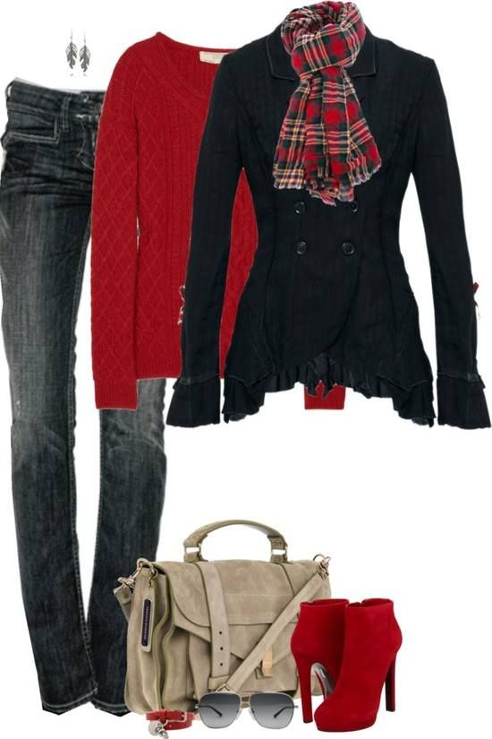 Gimme the jeans, jacket, possibly a much thinner under shirt, scarf, shoes & minimize the earrings ...THATS a decent and much comfy outfit: