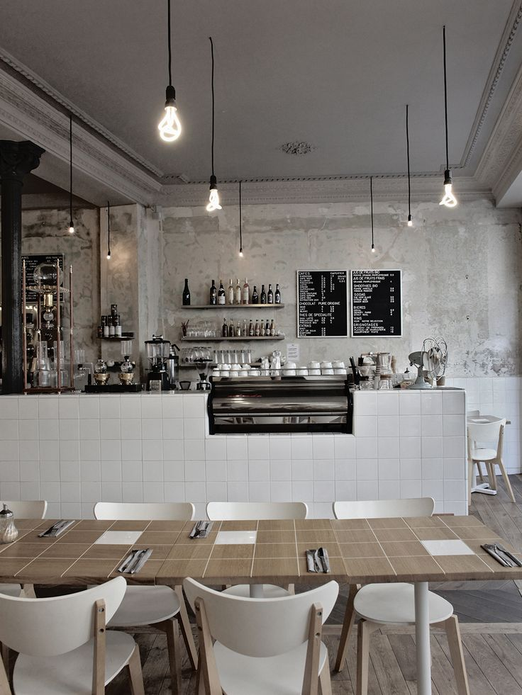 Café Coutume sur www.milkdecoration.com I like but would replace tile with reclaim wood and use solid wood table, minus the tiles.