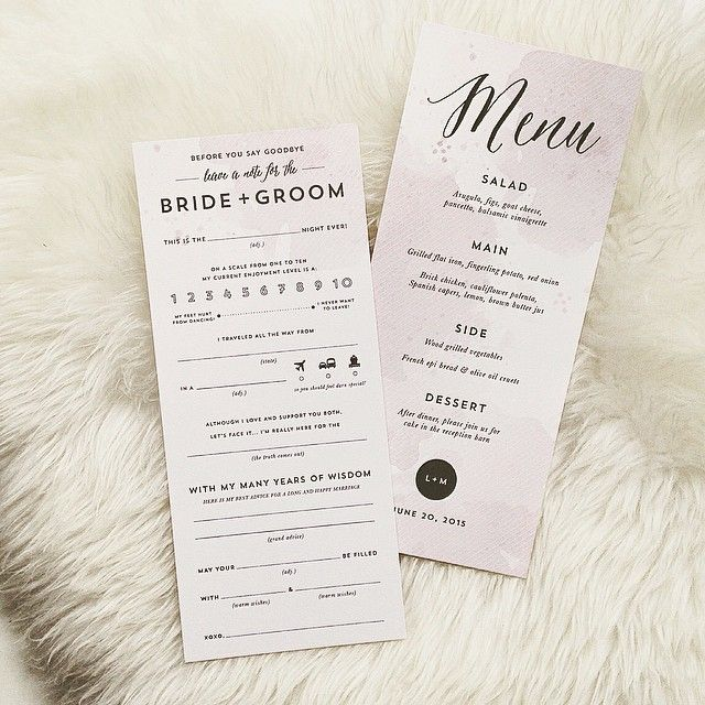 """Faded lavender watercolor menu card with a sassy little """"ad lib"""" (text provided by the bride) on the back. #weddingmenu #menucard #stationery #design #watercolor #rachelmarvincreative  #brushlettering #papergoods"""