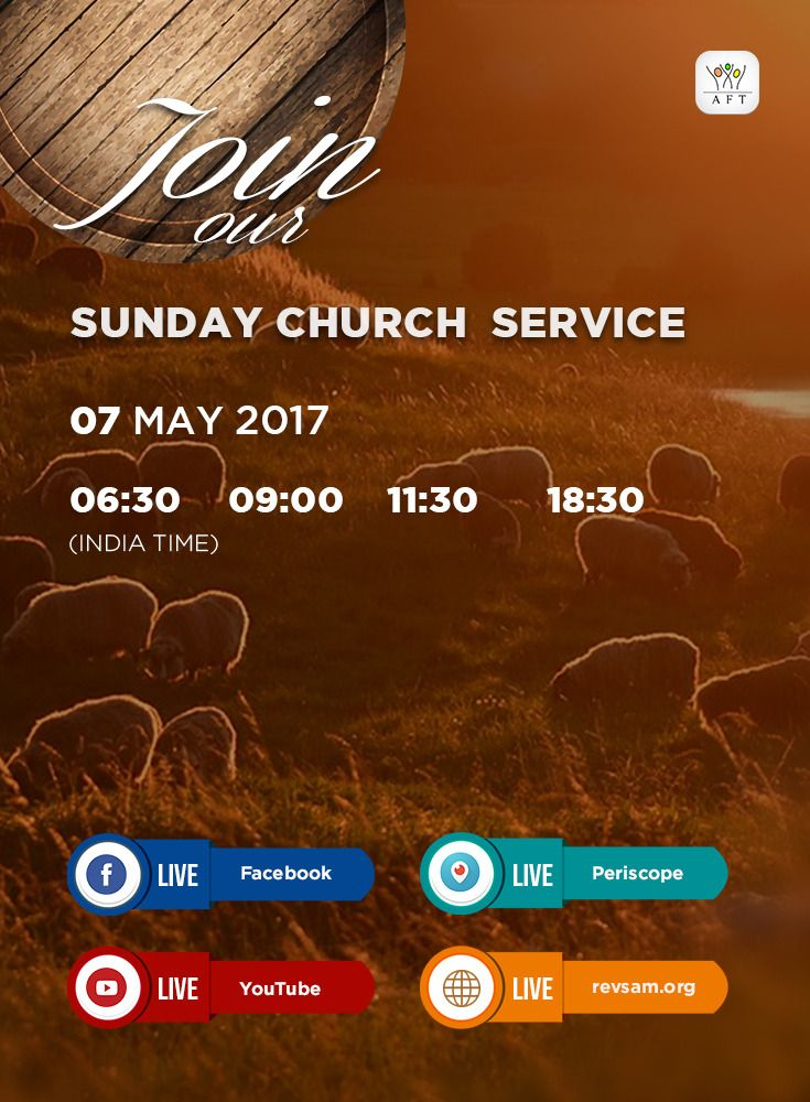 Join our Sunday Church Service LIVE Webcast today! In addition to our Website Live page, now you can also watch all our Church services live on Facebook, YouTube and Periscope (links below). SHARE these details with your friends and family so that they can also watch and be blessed. Thank you. Schedule (India Time): - Tamil Service: 6:30 & 09:00 - English Service: 11:30 - Bilingual Service: 18:30 (English with Tamil translation) Watch Live…