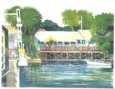 one of my favorite place to visit on Sunday afternoons.  Mathers Bridge Restaurant: The painting above is by Joyce Warner and it's titled Mathers Bridge Remembered.  The Mathers Bridge Restaurant was near the south end of Merritt Island