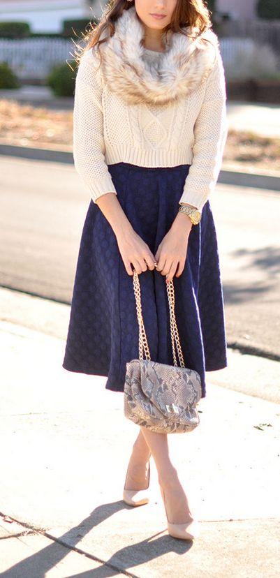 Urban Outfitters faux fur scarf , http://shop.nordstrom.com/s/joa-polka-dot-midi-skirt/3860533?cm_cat=datafeed&cm_ite=joa_polka_dot_midi_skirt:863703&cm_pla=bottoms:women:skirt&cm_ven=Linkshare&siteId=QFGLnEolOWg-2npYB6tME8HpfsyctKUi.Q, Schutz heels, Pietro Alessandro python bag, White House Black Market earrings, Michael Kors watch
