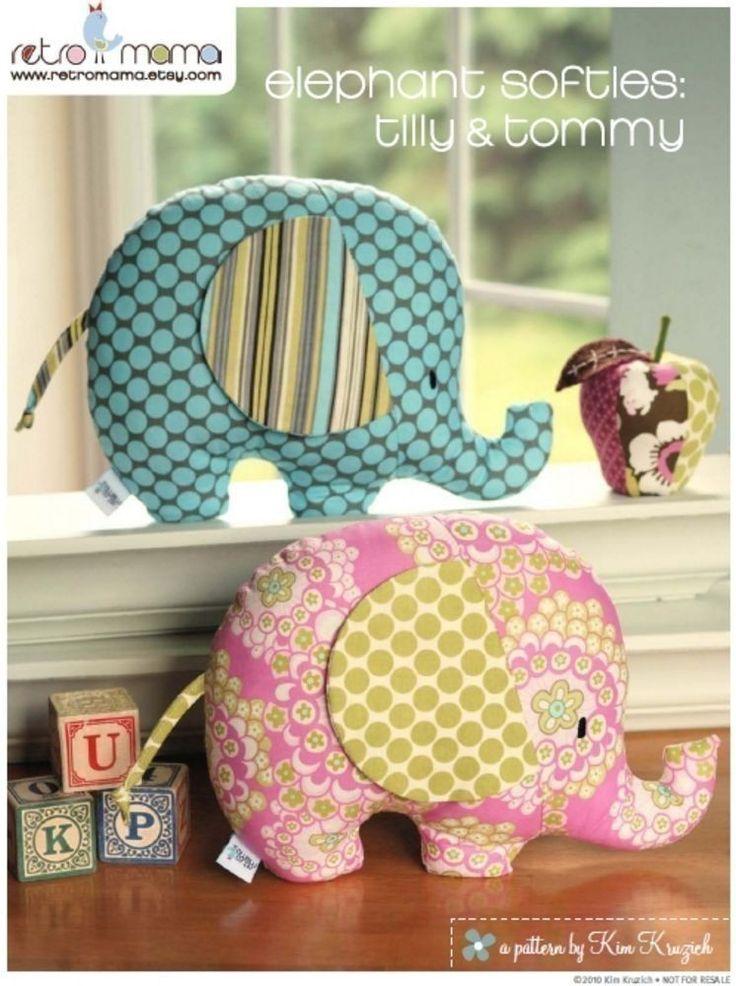 Stuffed Animal Pattern - PDF Sewing Pattern Tilly and Tommy Elephant Softies - Elephant Pillow Pattern. $8.00, via Etsy.