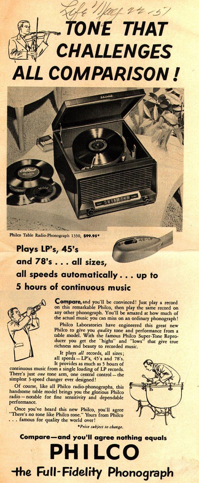 Philco Corporation's Philco Table Radio-Phonograph 1330 – Tone That Challenges All Comparison (1951)