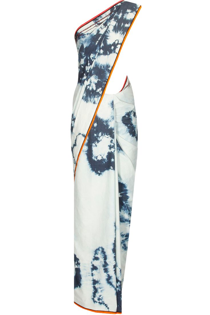White and blue spil out dye embroidered denim sari available only at Pernia's Pop Up shop.