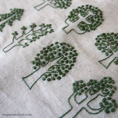 Green trees : Embroiderer: Yumiko Higuchi | Source: Hadnmade Works - Yumiko Higuchi | french knots