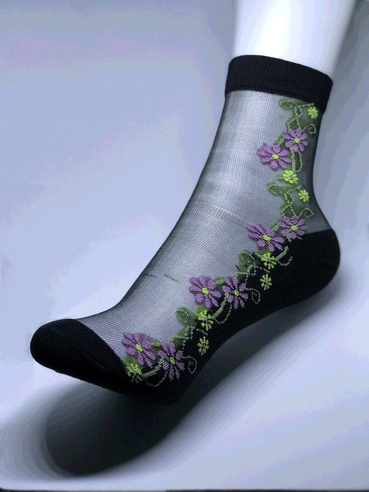 Women purple daisy, black cotton bottom.