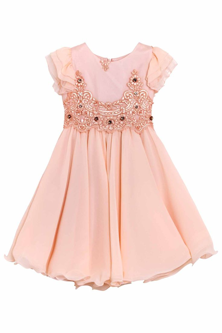 Dress with scalloped body in beautiful tulle embroidered with an ornate floral design and curled ruffles sleeves in chiffon and tulle.The wide circular crimped skirt is made of a lot of layers of chiffon and peach pink tulle. The dress is embellished with stones and pearls sewn by hand one by one on the body.DELIVERY 7/14 DAYS