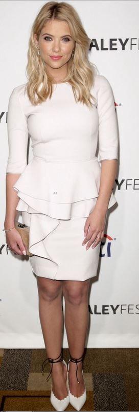 Ashley Benson: Dress – Alberta Ferretti  Shoes – Biondi Castana  Purse – Edie Parker  Jewelry – Jennifer Meyer