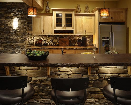 : Kitchens Design, Stones Wall, Rustic Kitchens, Custom Home, Basements Bar, Bar Area, Bar Lights, Acid Stained Concrete, Concrete Countertops