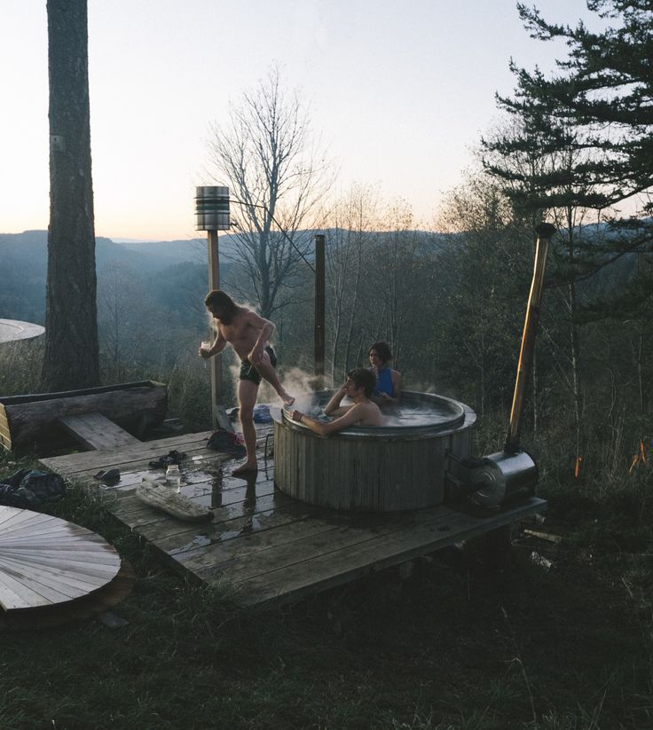 thecindercone:  Warning up on Thanksgiving  Outdoor hot tub by Foster Huntington