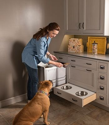 Doling out food is easy when big bags of kibble are stored in a pull-out bin right next to bowls that neatly tuck away when dinner's over. Try a freestanding unit with our dog feeding-station project here.