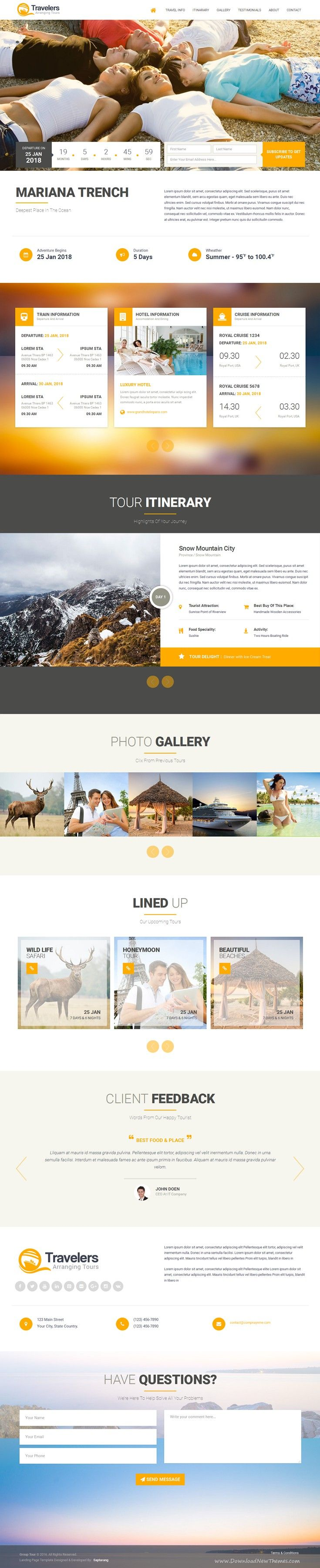 Traveler Landing Page is a responsive layout built using Bootstrap, HTML5 and CSS3. Perfect for tourism business and respective agencies to showcase their upcoming tours for their customers. #travel #landingpage #template