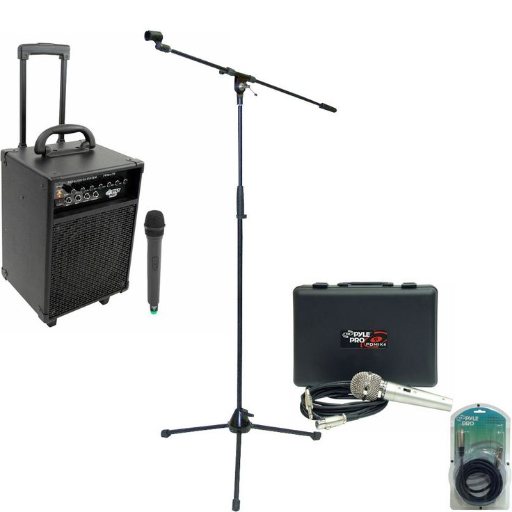 Pyle Speaker, Mic, Stand and Cable System Package for your Studio, Concert, Stage, Performance, Bar, Home, etc. - PWMA230 200W VHF Wireless Battery Powered PA System - PDMIK4 Dynamic Microphone with Carry Case - PMKS2 Tripod Microphone Stand w/Boom - PPFMXLR15 15ft. XLR Male to XLR Female Microphone