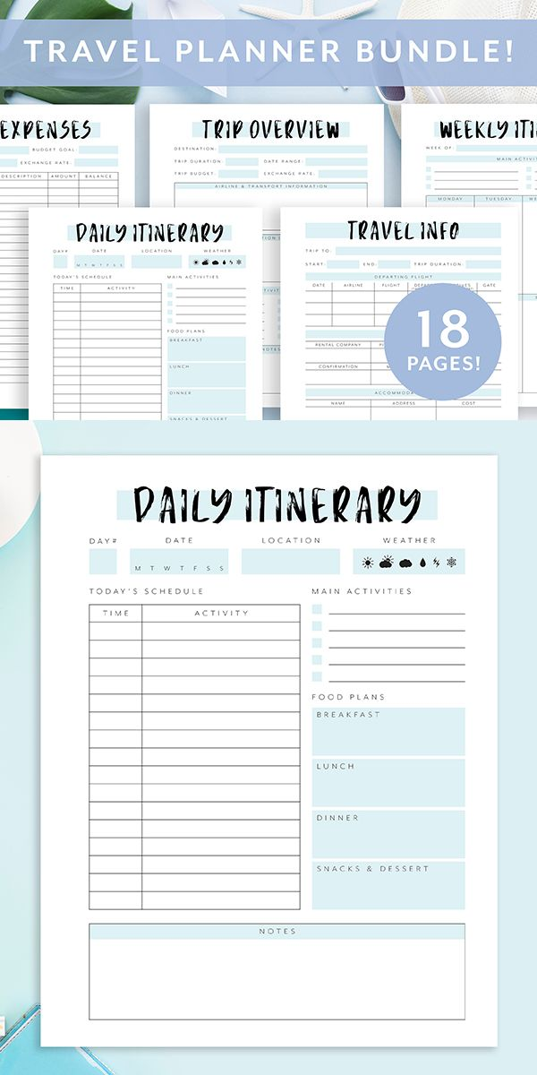 Travel Planner Printable Vacation Planner Bundle Trip Planner Travel Journal Travel Itinerary Travel Planner Template A4 A5 Usletter Travel Planner Template Vacation Planner Travel Planner