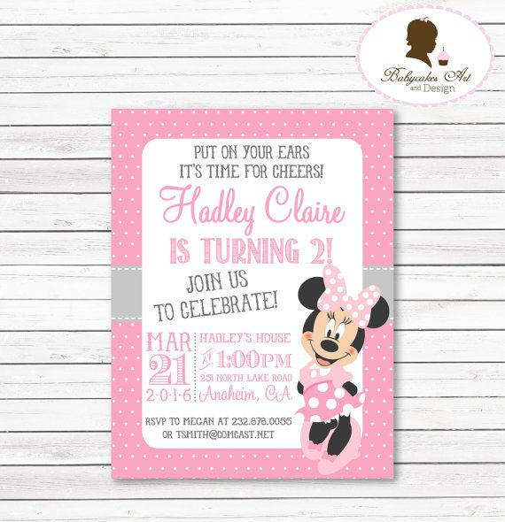 Minnie Mouse Invitation Minnie Mouse 1st Birthday by BabycakesArt