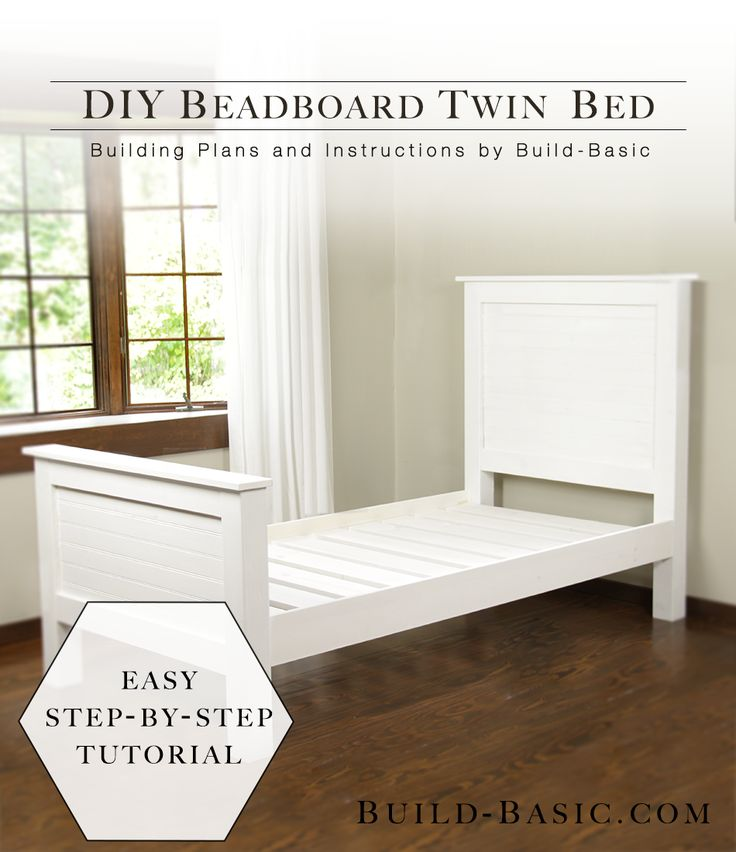Build a DIY Twin Bed with Beadboard Detail - by @BuildBasic www.build-basic.com #sponsored #DIY #Woodworking #TheHomeDepot #TwinBed #Beadboard