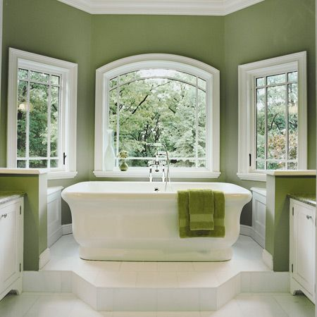 Green can be such a soothing color. It gives this bathroom a bright, crisp mood while calming the room too.: Bathroom Color, Green Wall, Bathtubs, Wall Color, Bathroom Idea, Green Bathroom, Master Bath, White Bathroom, Paintings Color