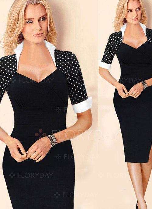Kleider - $50.00 - Baumwollmischungen Gepunktet Halbe Sleeve Knielang Elegant Kleider (01955090984)