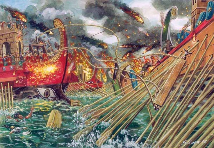 """The Battle of Actium, September 02 31B.C."" The naval forces of Marcus Vipsanius Agrippa and Caesar Octavian (later Augustus) v.s. Marcus Antonius and Cleopatra Vll, Queen of Egypt, on the other side.- Imagen"