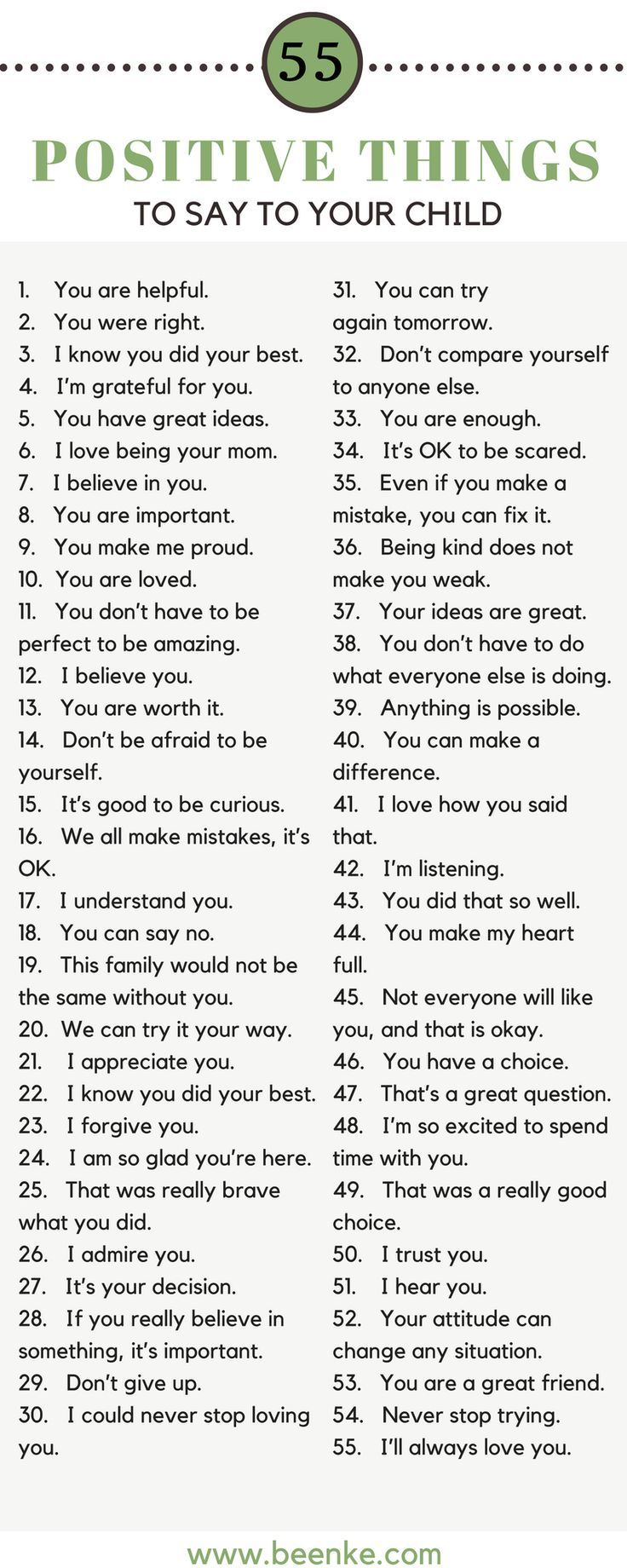 As parents, the way we speak to our children is incredibly important. Words can build kids up, and they can just as easily tear them down. Check out our list of 55 positive things to say to your child on a daily basis. Bond while you build their confidence.#parenting