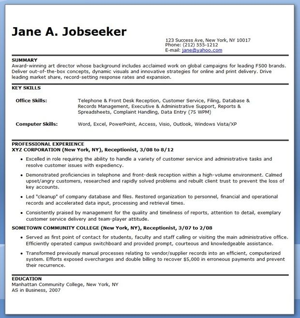 use this free resume for a receptionist to help write your own professional resume and start getting better results from your job market - Free Resume Assistance