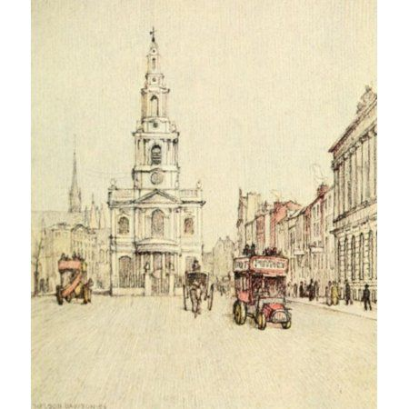A Wanderer in London 1906 St Mary the Strand Canvas Art - Nelson Dawson (18 x 24)