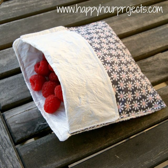 Reusable Lined Snack Baggies: 4-8 plastic grocery bags (I used 6) Parchment paper Iron  Fabric scrap at least 7″x15″ (optional, it just makes it pretty!) Sewing machine and general sewing supplies (scissors, rulers, pins, etc).