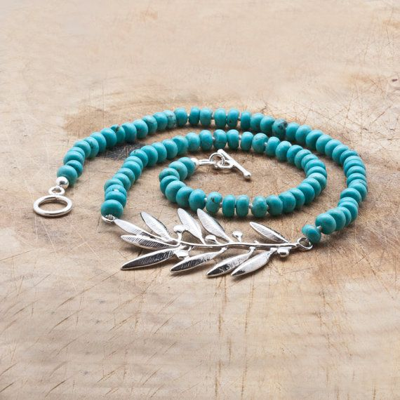 Sterling Silver Olive Branch Necklace with Blue by GreekMythos